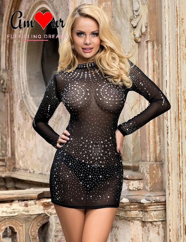 Glam Slam Sheer Lace & Sequins Dress
