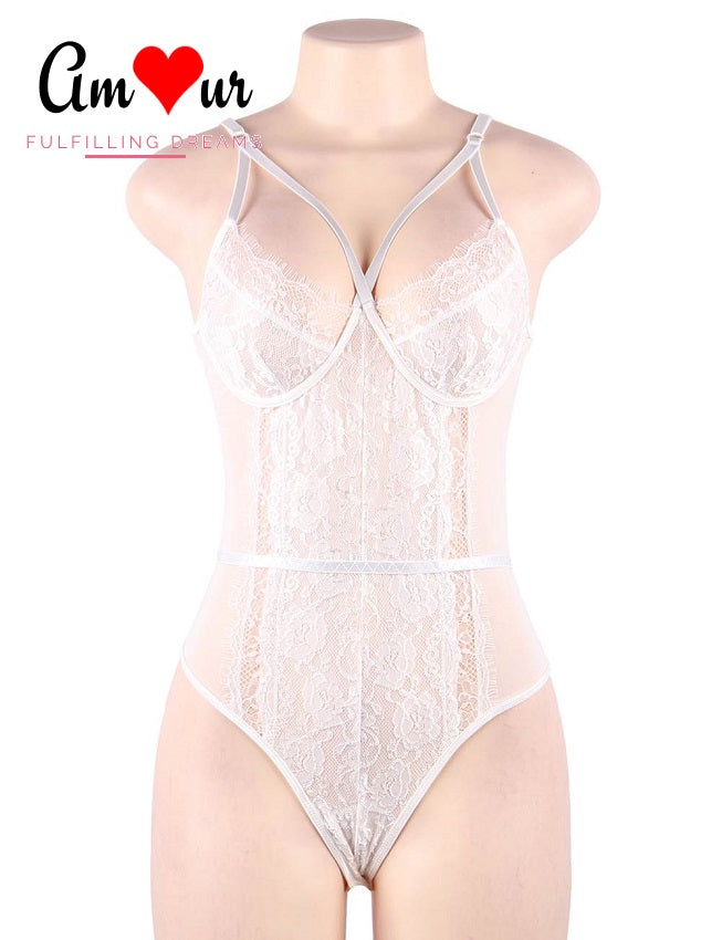 white lace cross straps teddy