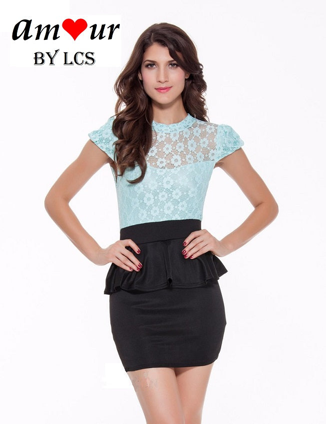 [sexy lace peplum dress] - AMOUR Lingerie
