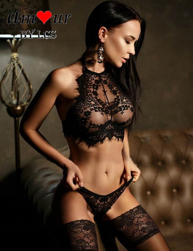 [black sheer lace lingerie] - AMOUR Lingerie