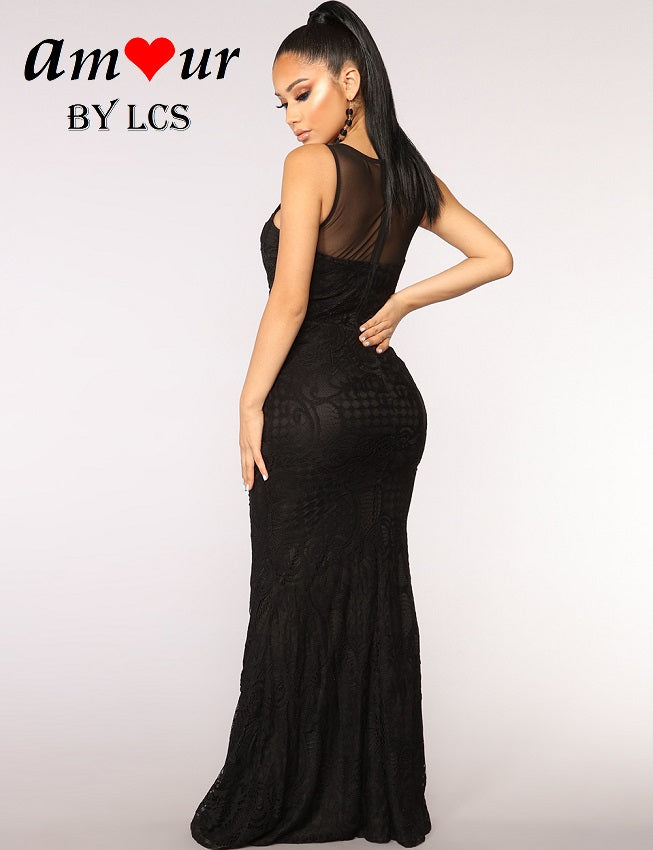 [black guipure lace party gown] - AMOUR Lingerie