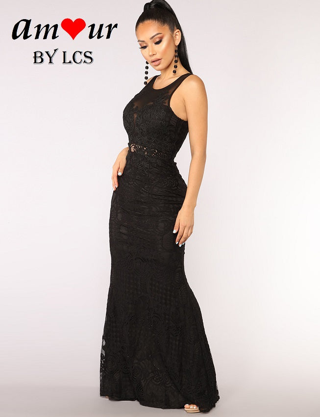 [black guipure lace maxi dress] - AMOUR Lingerie