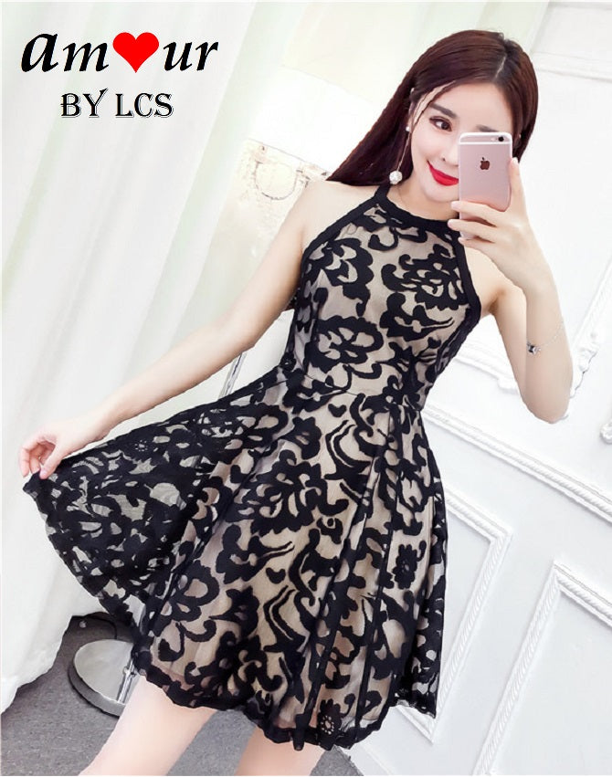 [black lace skater dress] - AMOUR Lingerie