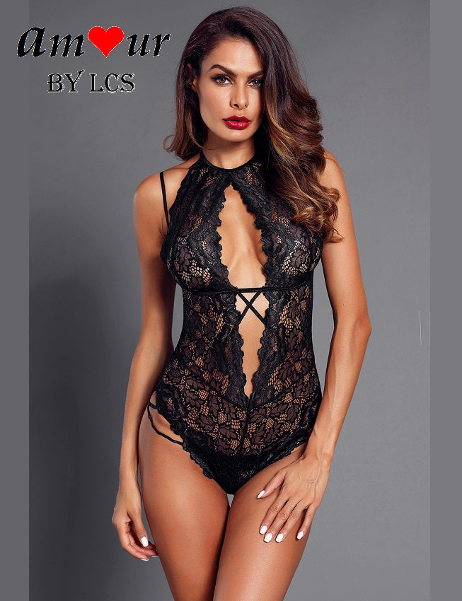 Temptress All Sheer Black Lace Teddy Lingerie
