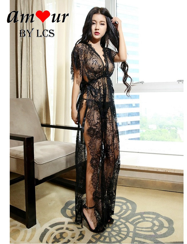 Ultra Sexy Sheer Black Lace Maxi Gown