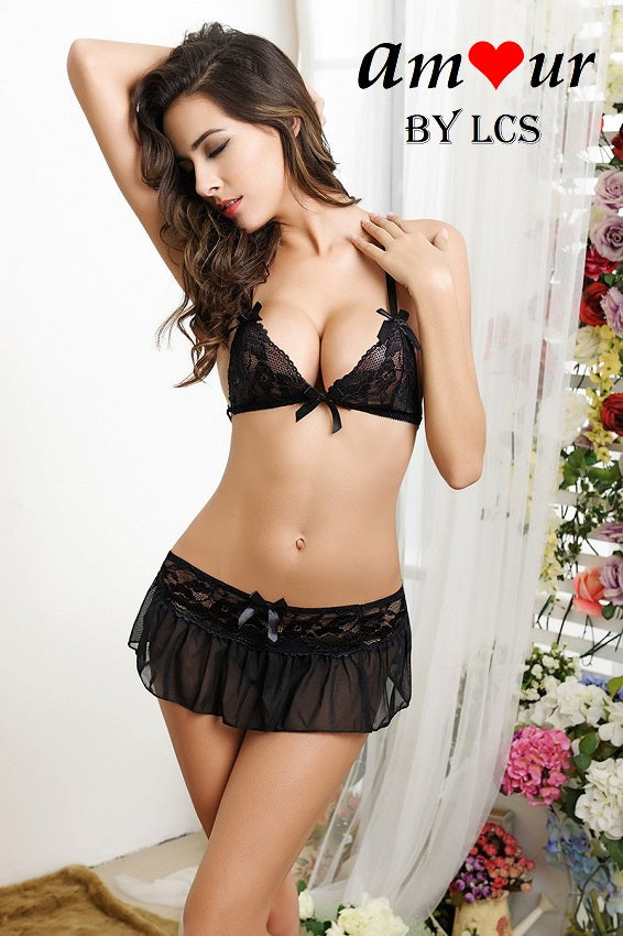 [Black bra mini skirt lingerie] - AMOUR Lingerie