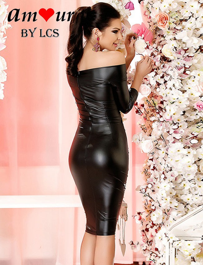 [sexy leather party dress] - AMOUR Lingerie