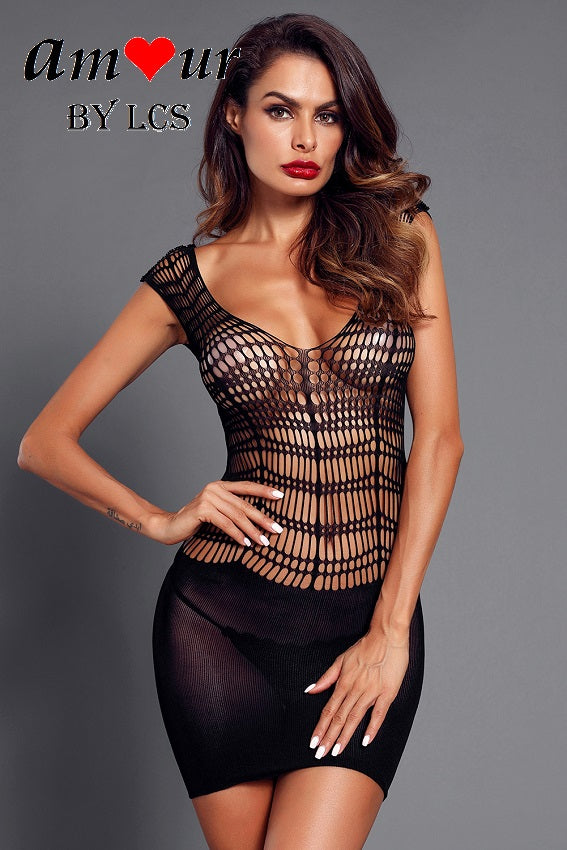 [sexy fishnet lace chemise] - AMOUR Lingerie