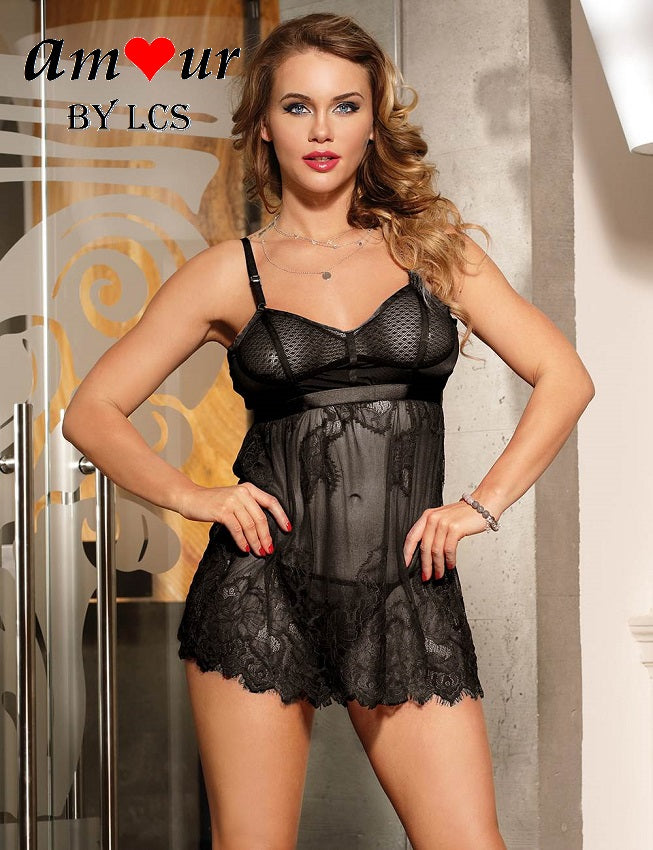 [sexy black lace babydoll] - AMOUR Lingerie