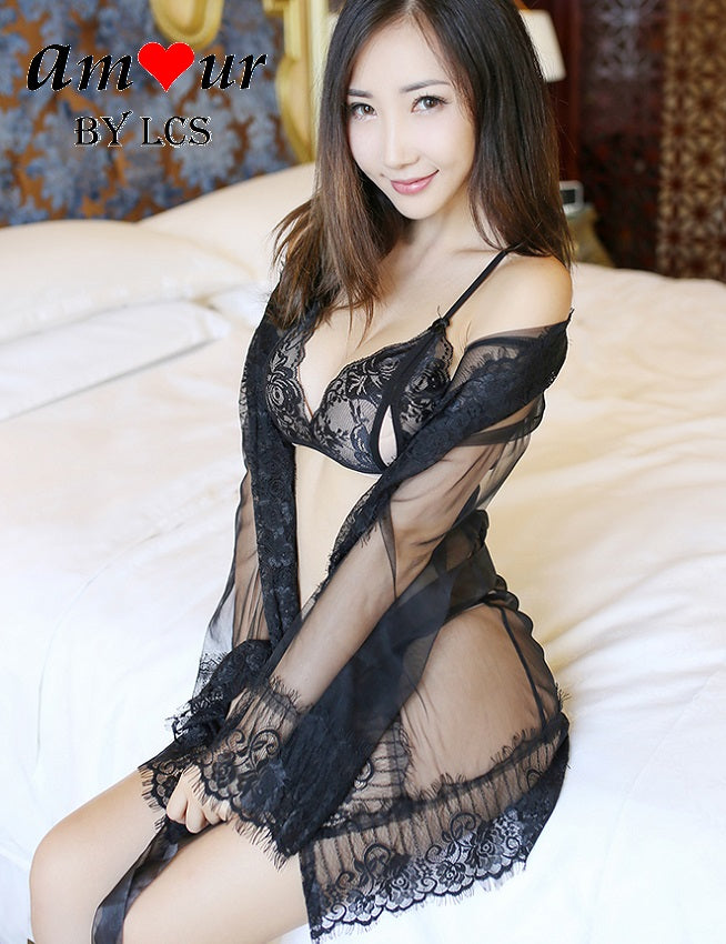 [black organza lace sheer robe] - AMOUR Lingerie