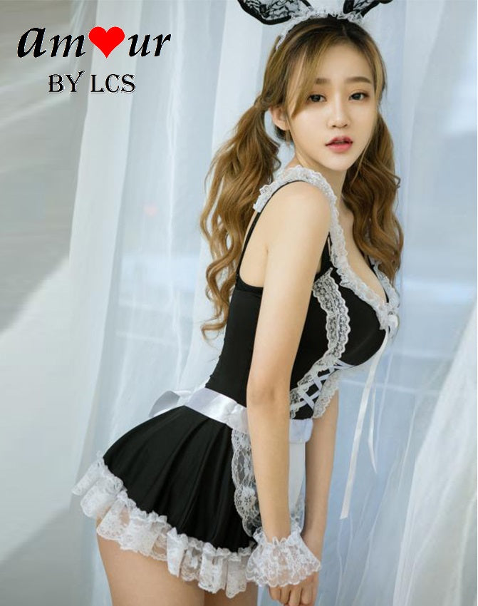 Pretty French Maid Cosplay Babydoll Costume - Amour ...