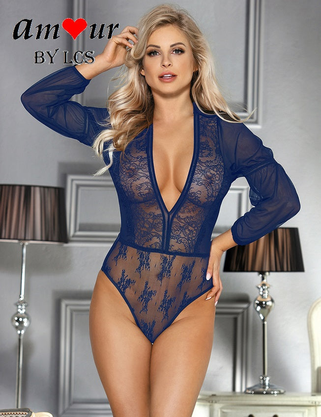 [sexy blue sheer teddy] - AMOUR Lingerie