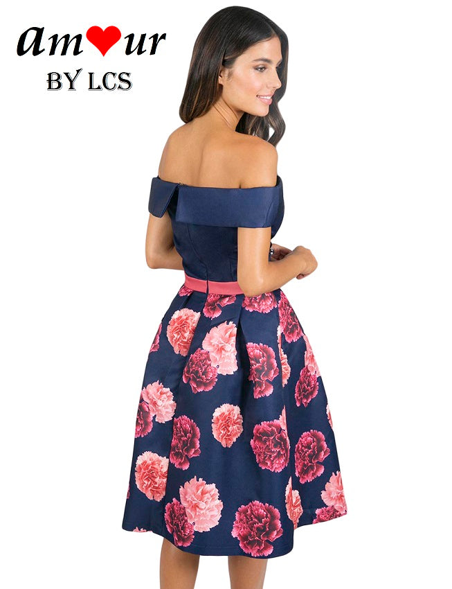 [blue floral cocktail midi dress] - AMOUR Lingerie
