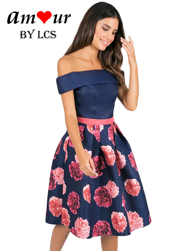 [blue floral off shoulder dress] - AMOUR Lingerie