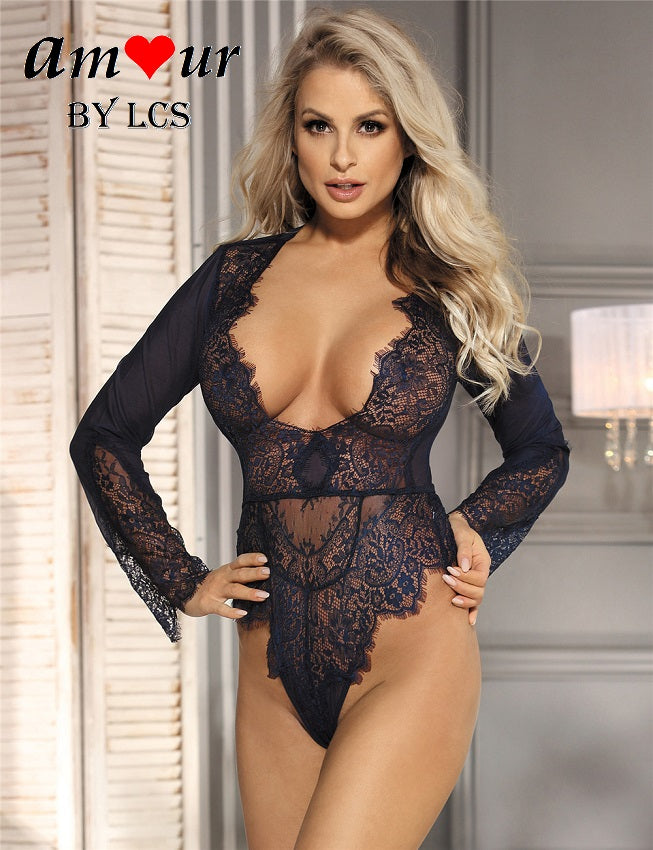 [sexy navy plunging teddy] - AMOUR Lingerie