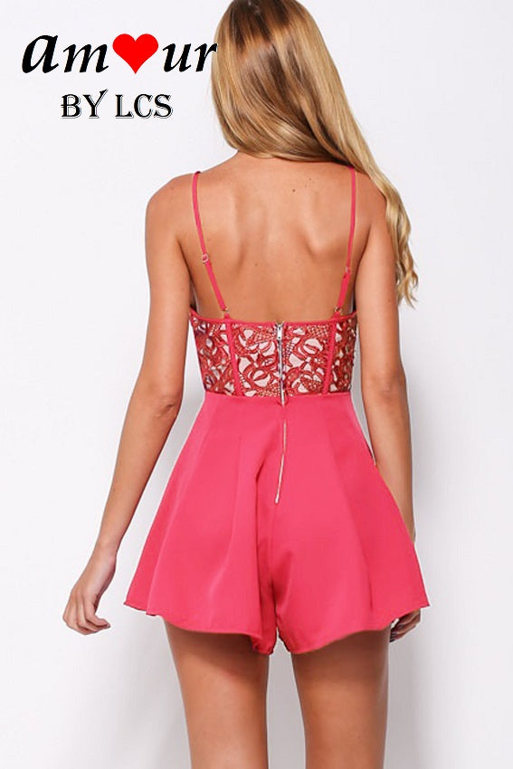 lace cut out romper set