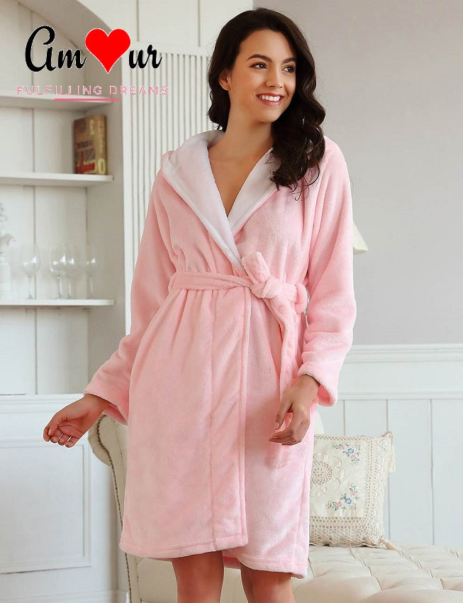Cute Animal Hoodie Pink Fleece Bathrobe