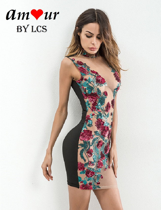 [see through lace evening dress] - AMOUR Lingerie