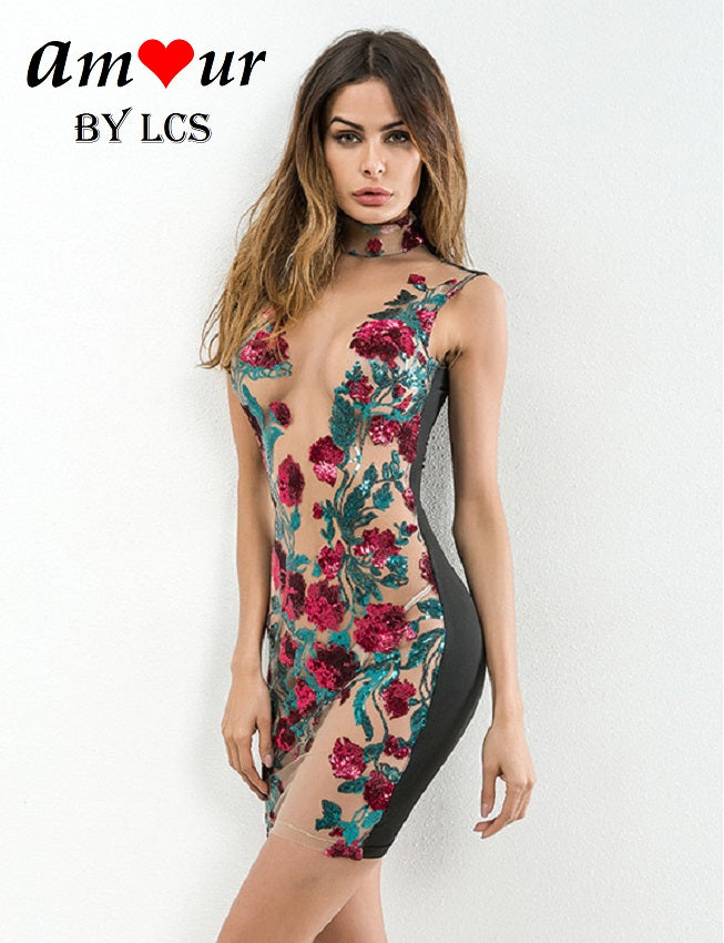 [floral embroidered bodycon] - AMOUR Lingerie