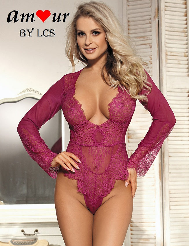 [purple pink lace teddy] - AMOUR Lingerie