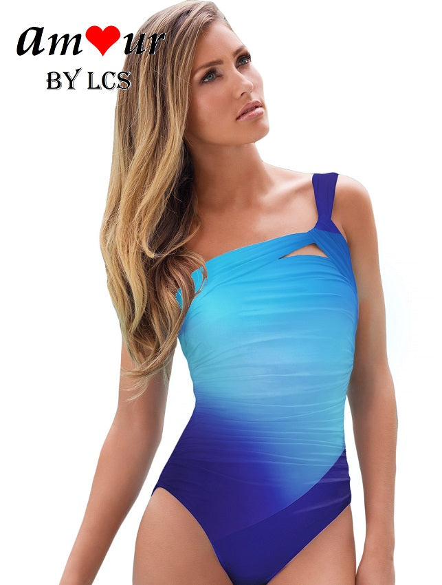 Ravishing Gradient Colored One-Shoulder Toga Swimsuit