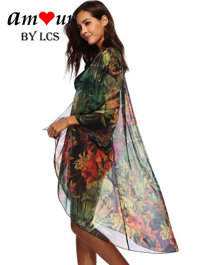 Attractive Jungle Flora & Fauna Chiffon Beach Robe