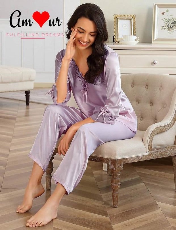 lavender satin pyjamas set