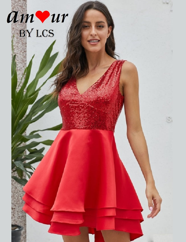 red sequins party dress