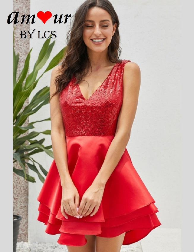 red sequins satin party dress