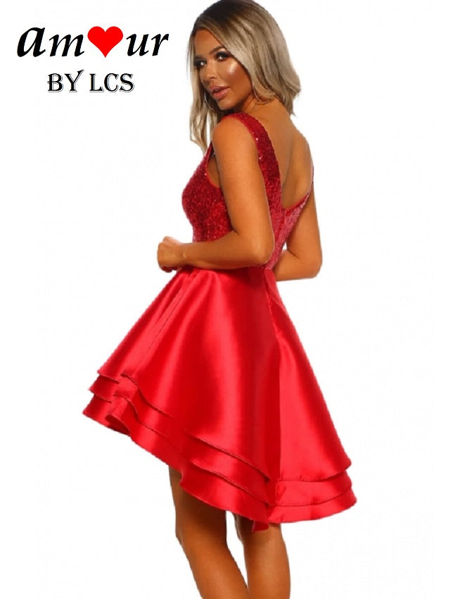red sequins cocktail satin dress