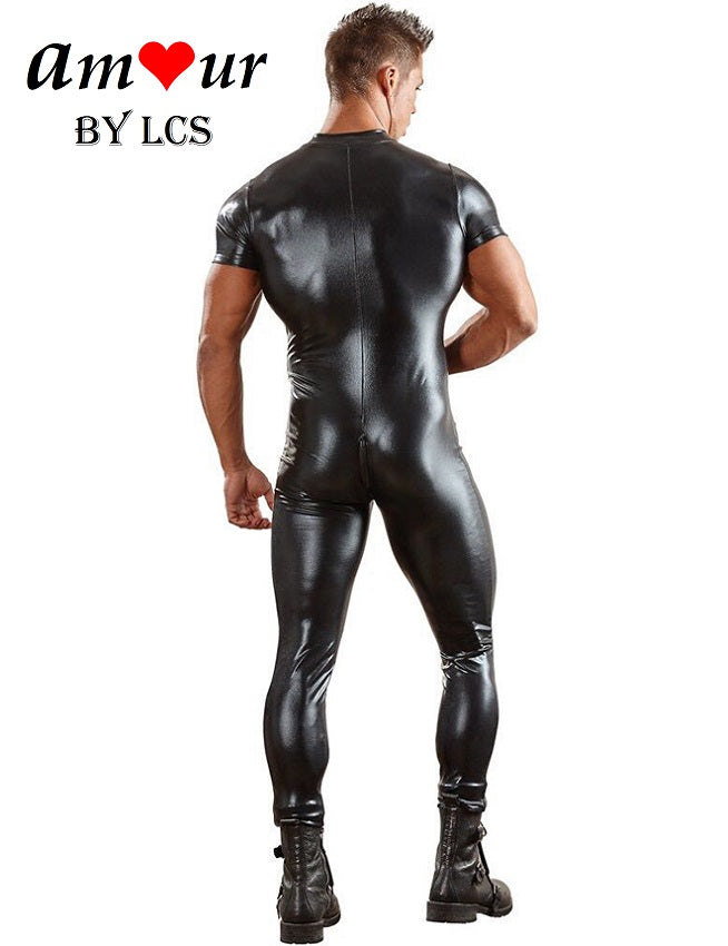 Head Turning Leather Men's Sexy Bodysuit
