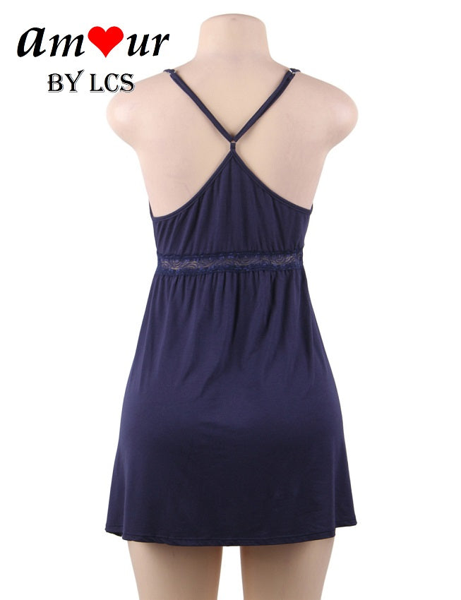 Sexy Crossback Plunging Chemise Pajamas Dress