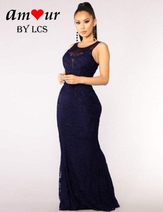[navy guipure lace maxi gown] - AMOUR Lingerie