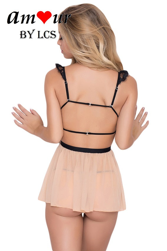 [nude strappy bareback babydoll] - AMOUR Lingerie