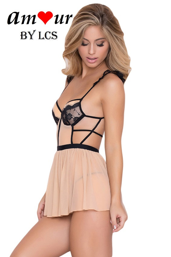 [nude strappy babydoll] - AMOUR Lingerie