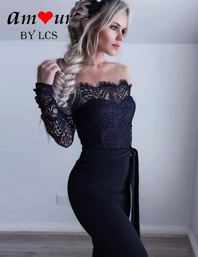 [sexy off shoulder lace playsuit] - AMOUR Lingerie