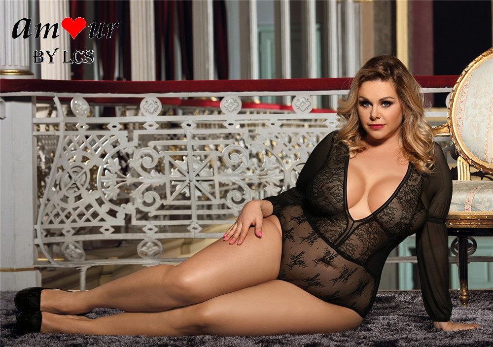 [sexy plus size sheer teddy lingerie] - AMOUR Lingerie