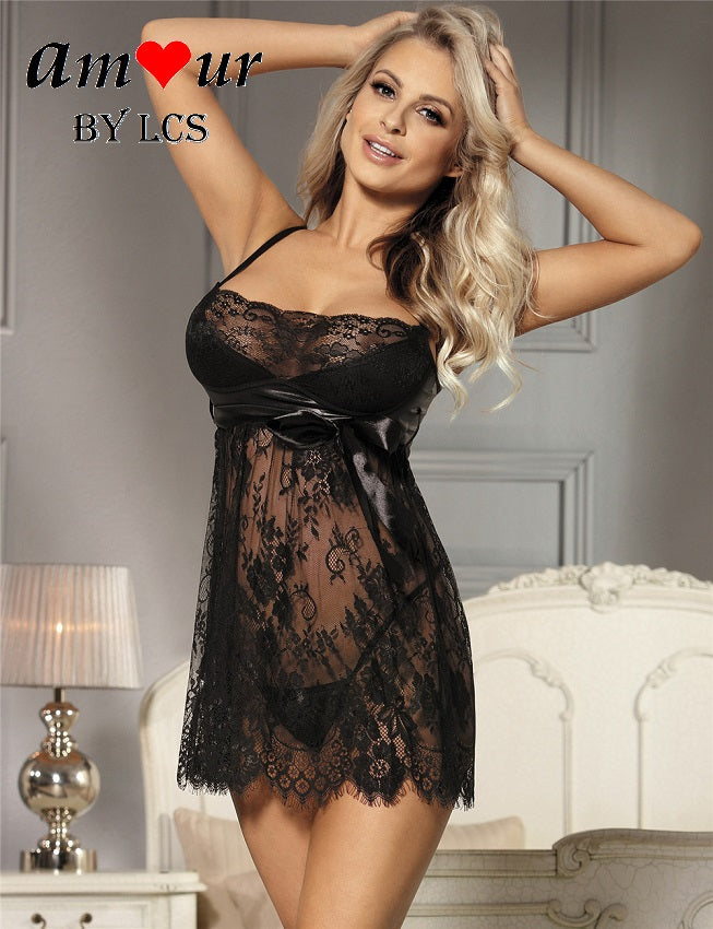 8114a4696e996 Charming Sheer Black Lace Sexy Babydoll – AMOUR Lingerie (Amour by LCS)