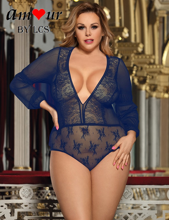 [blue plus size teddy lingerie] - AMOUR Lingerie