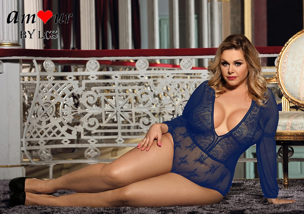[blue plus size see through teddy] - AMOUR Lingerie