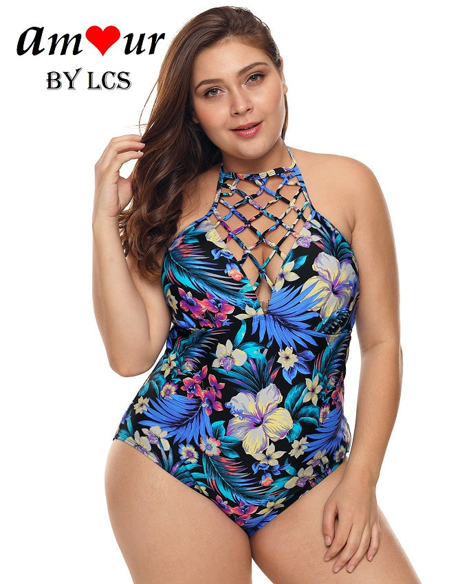 Enchanting High Neck Cross Laced Floral Swimsuit