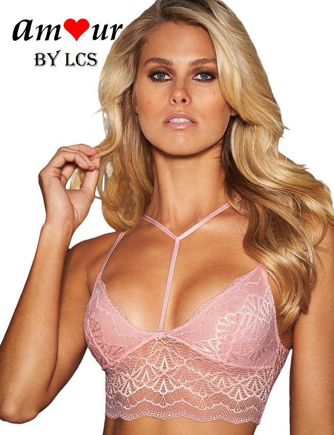 [pink y-neck lace crop bra] - AMOUR Lingerie