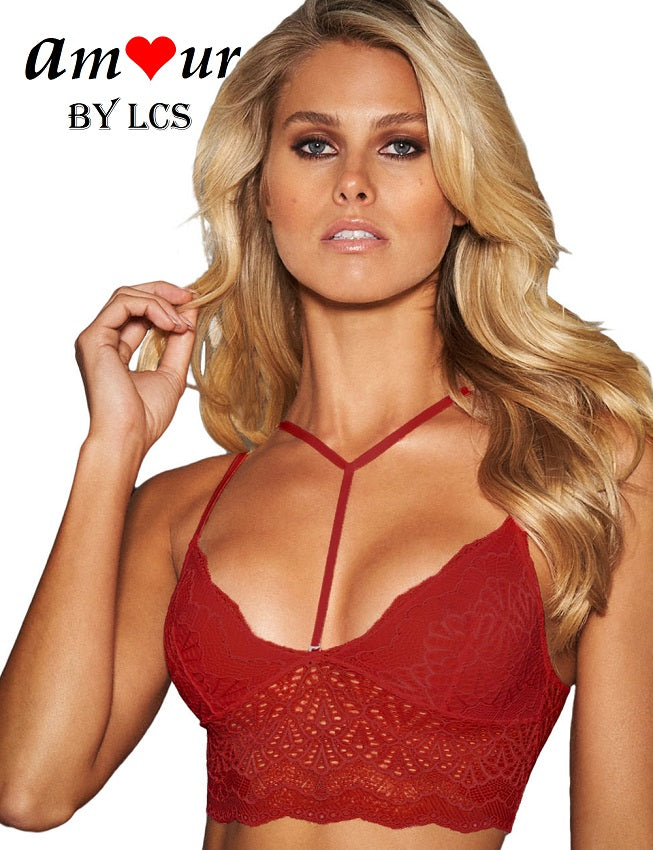 [sexy sheer lace red bralet] - AMOUR Lingerie