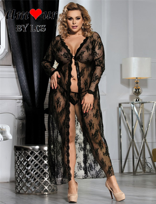 [plus size lace robe gown] - AMOUR Lingerie