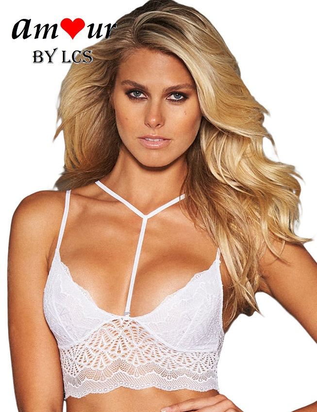 [y-neck white crop bralet top] - AMOUR Lingerie