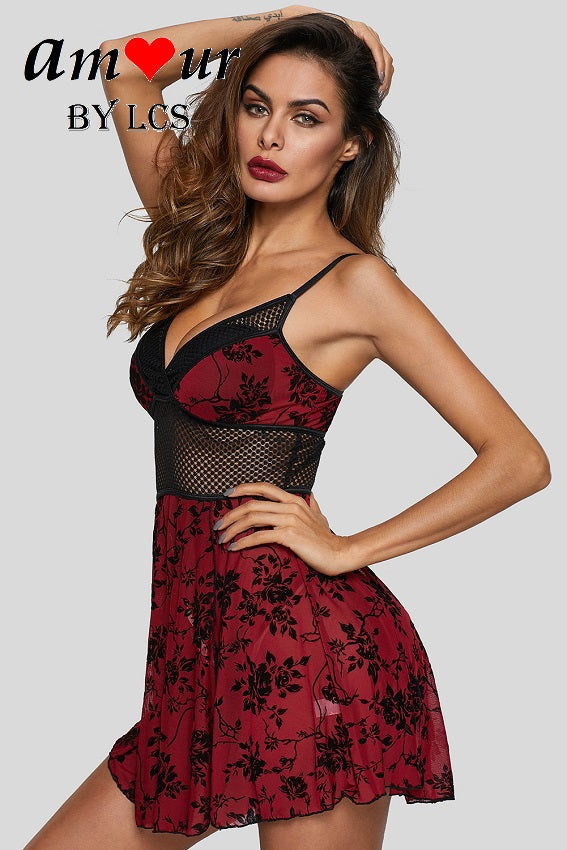 Sensual Sheer Black Lace Roses Chemise with Red Trimming