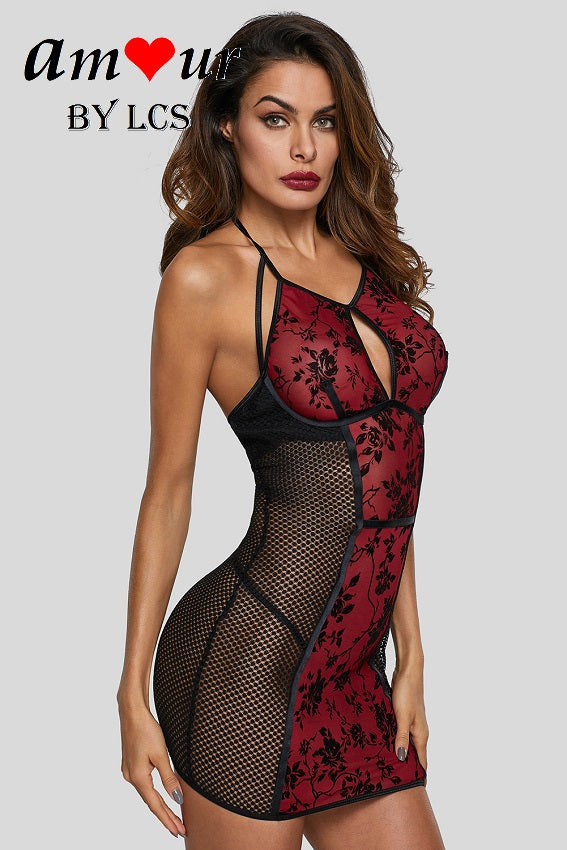 Flirty Sheer Red Lace Chemise Dress with Black Juliet Roses