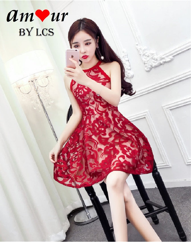 [red halterneck skater dress] - AMOUR Lingerie