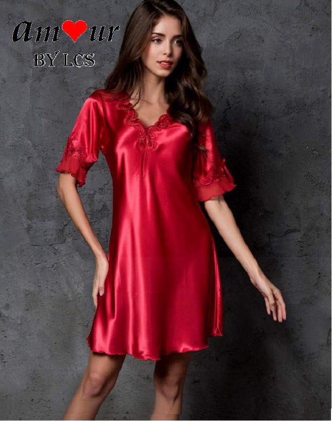 [red satin pyjamas nightdress] - AMOUR Lingerie