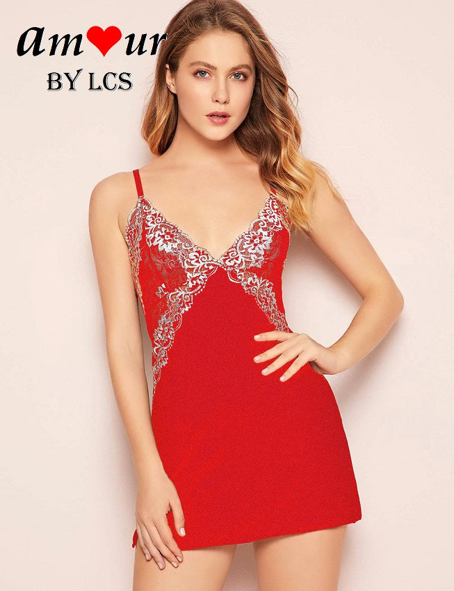 [red lace chemise pyjamas] - AMOUR Lingerie